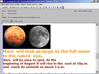 Mars Hoax chain letter received by Sky & Telescope Mag