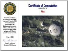 Project SETI Certificate - click image for larger view