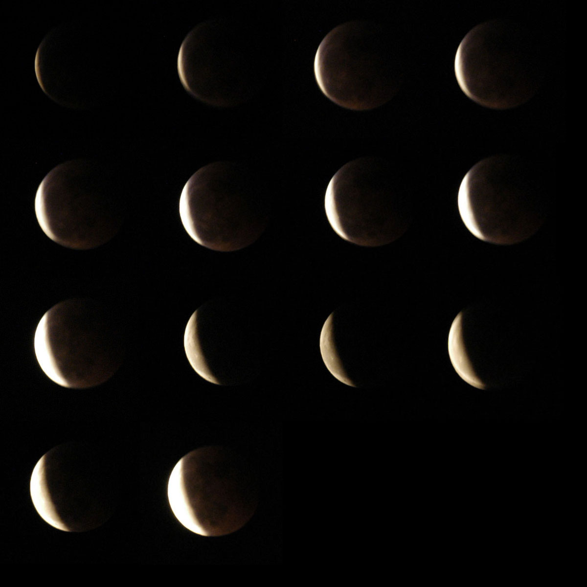 Eclipse Mosaic Sequence, left to right, top to bottom