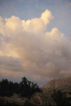 Sunset and storm clouds over Sawtooth Ridge