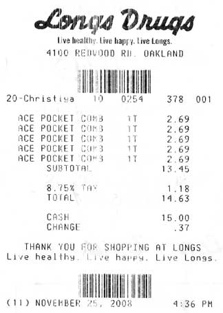 Shopping receipt image