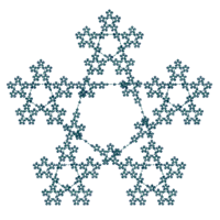 Fractal pentagram drawn with a vector iteration program.