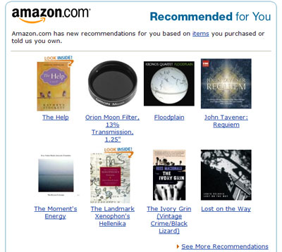 Amazon.com has new recommendations for you based on items you purchased or told us you own.