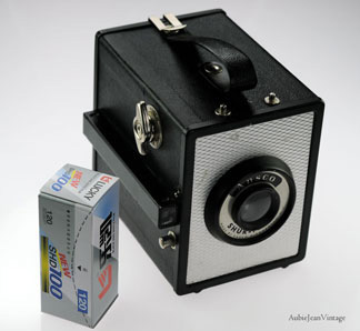 For sale on Etsy.com. Seller commented This is a wonderful pinhole camera! Made in 1953 by Ansco of Binghamton, New York. Produces 6x9 prints, has a Meniscus lens and optical view finder. Click image to go to source page.