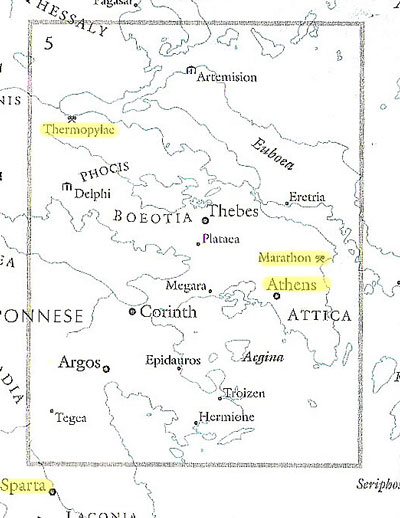 Region of Athens,. Sparta, Marathon and Themopylae