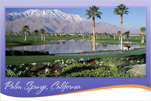 tourist bureau postcard of glamorous Palm Springs