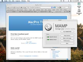 First test WordPress installation on local Mac machine. Click image for 1024x768 view.