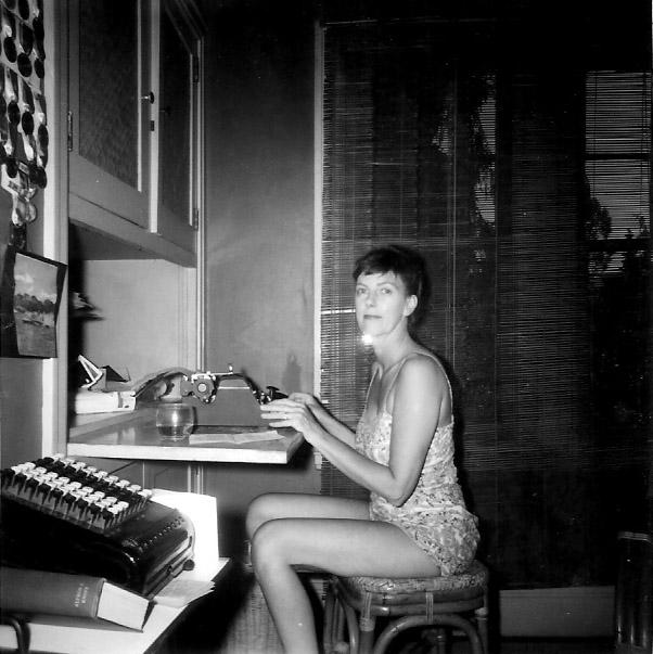 My mother Faith, at home at the old Underwood typewriter in the Den, circa 1956.